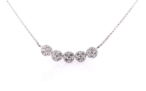 Round cluster bar necklace of Diamonds (NK2648)