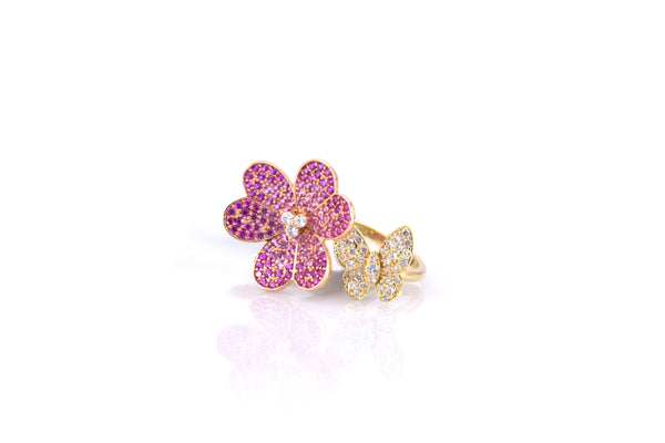 Multi Color Flower Ring (RG3104)