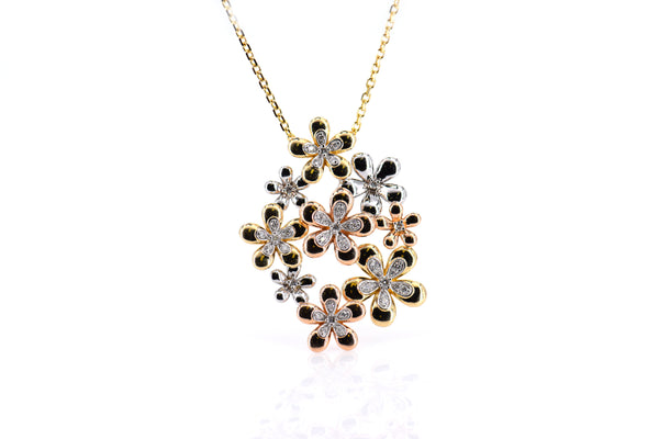 Multiple flower pendant three-tone color gold (PND4097)