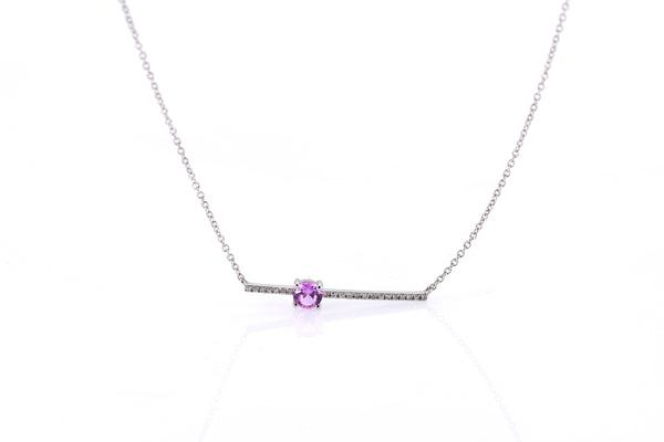 Diamond bar Necklace with round pink sapphire (NK2656)