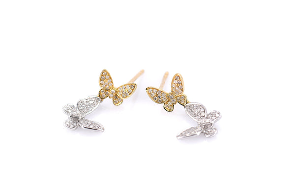 Dual Butterfly Diamond Accented Posts (ER8187)