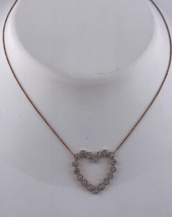 Rose gold and diamond cluster heart necklace (NK2816)