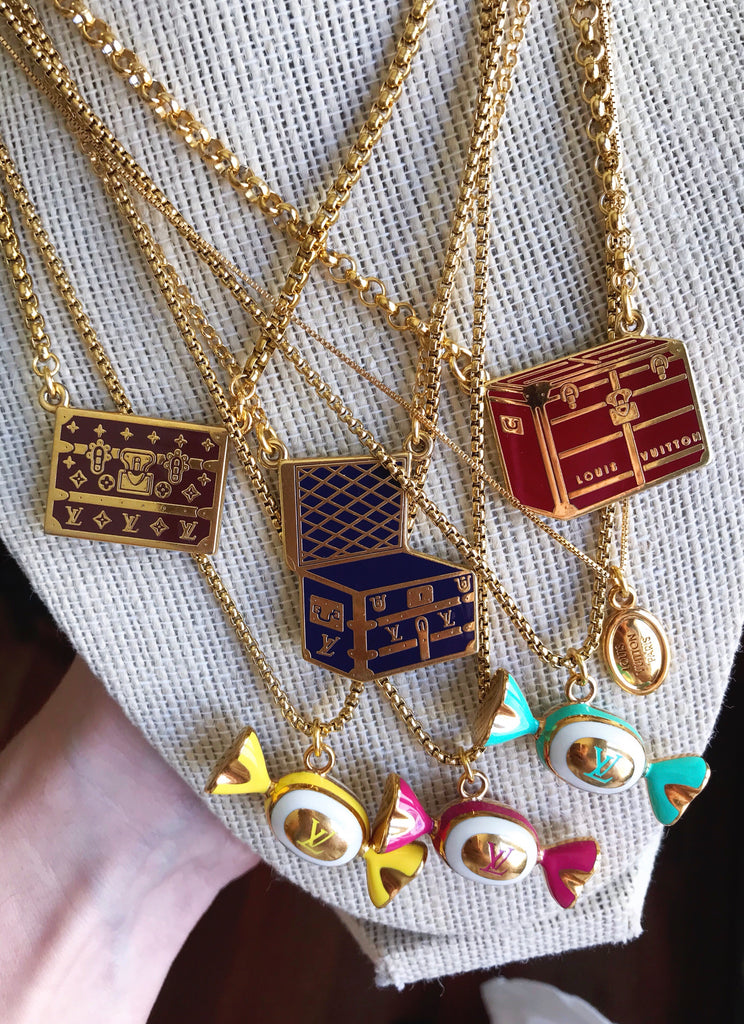 Blue and Gold Repurposed Vintage Louis Vuitton Trunk Charm Necklace