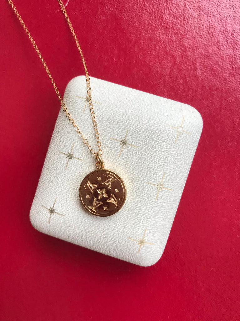 Small Vintage Gold Repurposed Louis Vuitton Button Necklace
