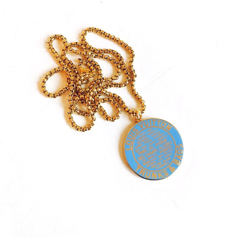Huge Vintage Baby Blue and Gold Louis Vuitton Charm Necklace