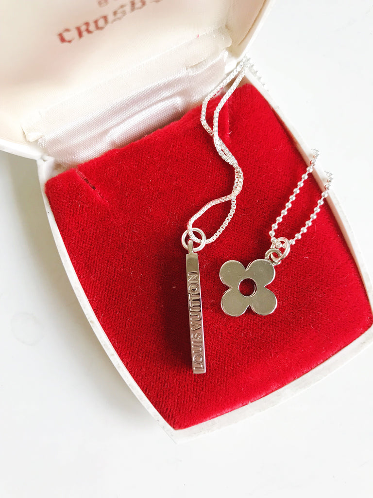 Small Vintage Silver Louis Vuitton Bar Charm Necklace
