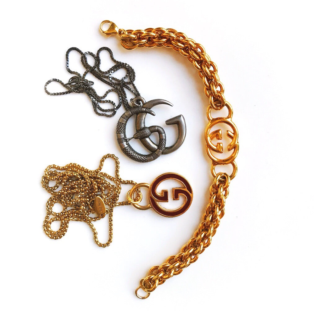 Vintage Gold Repurposed Designer Charm Bracelet