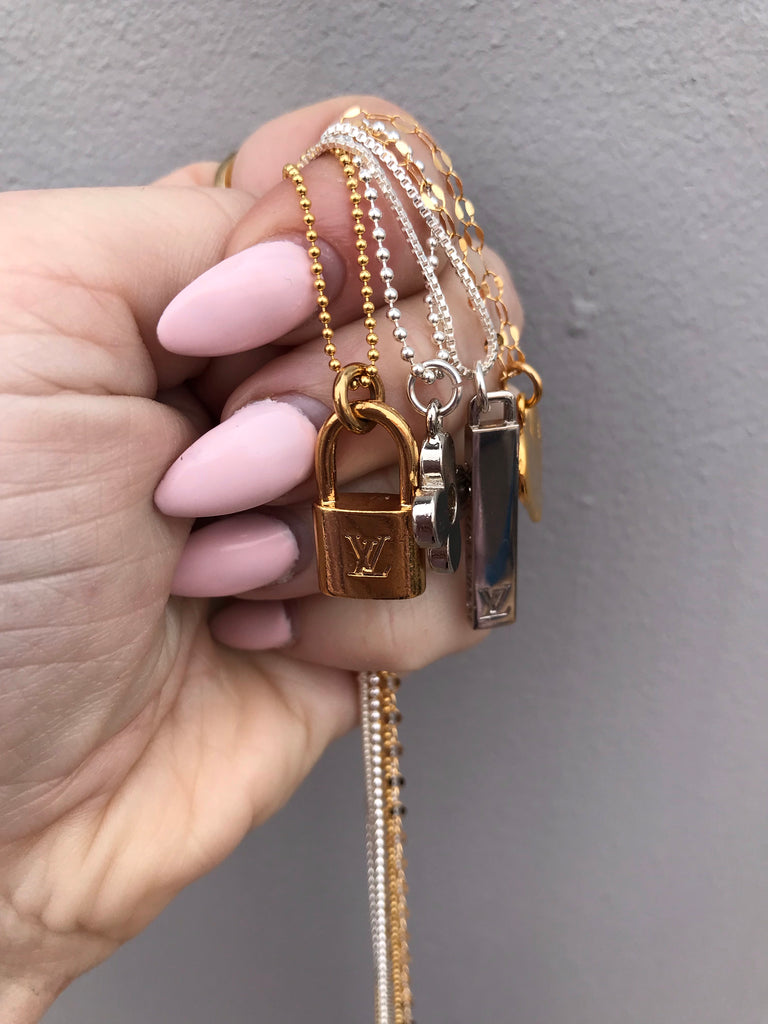 Small Vintage Gold Louis Vuitton Lock Charm Necklace
