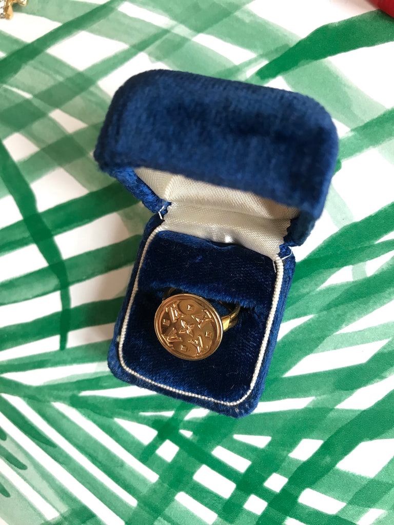 Small Vintage Gold Repurposed Louis Vuitton Button Ring