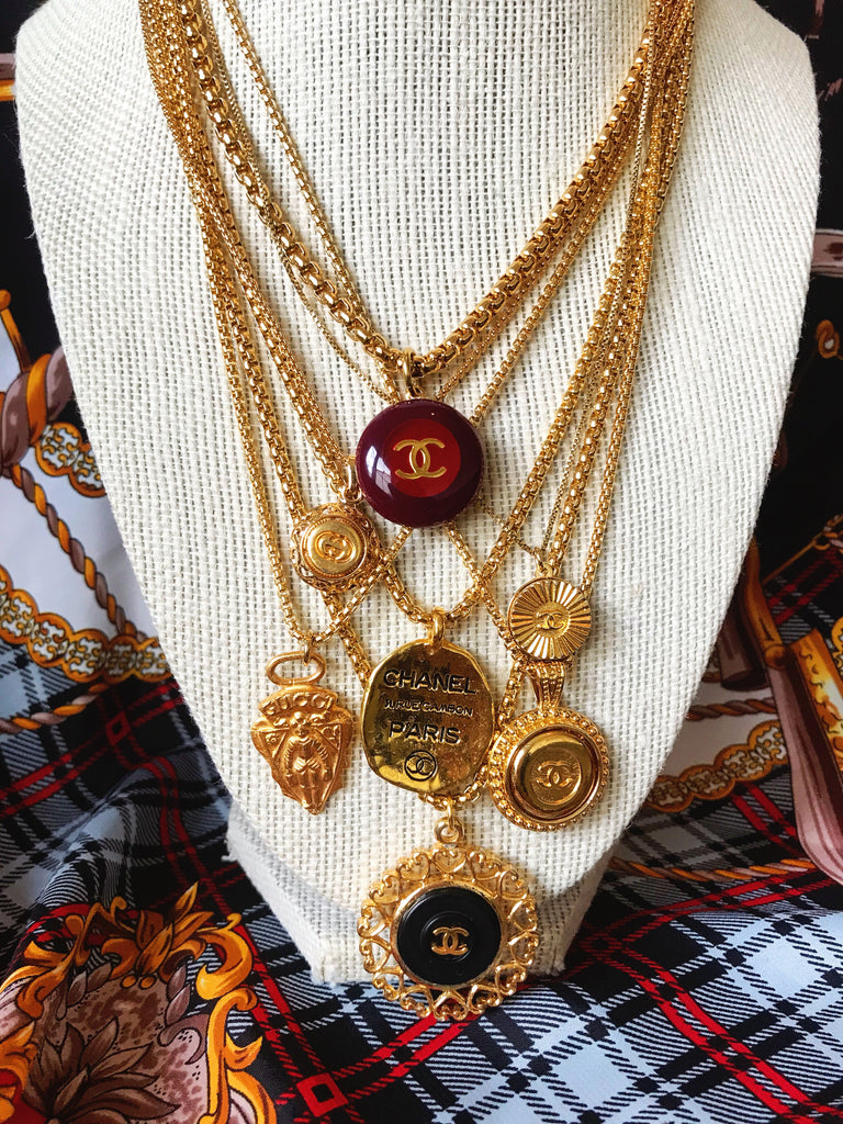 Medium Vintage Gold Repurposed Gucci Charm Necklace