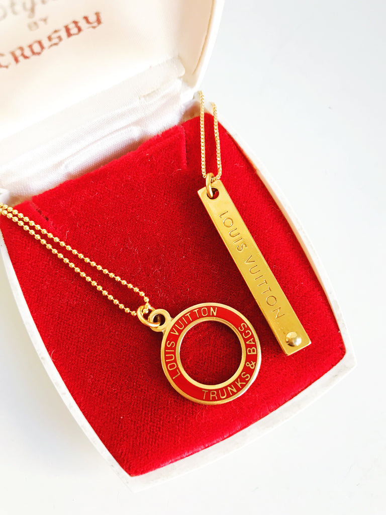 Medium Red and Gold Louis Vuitton Circle Charm Necklace
