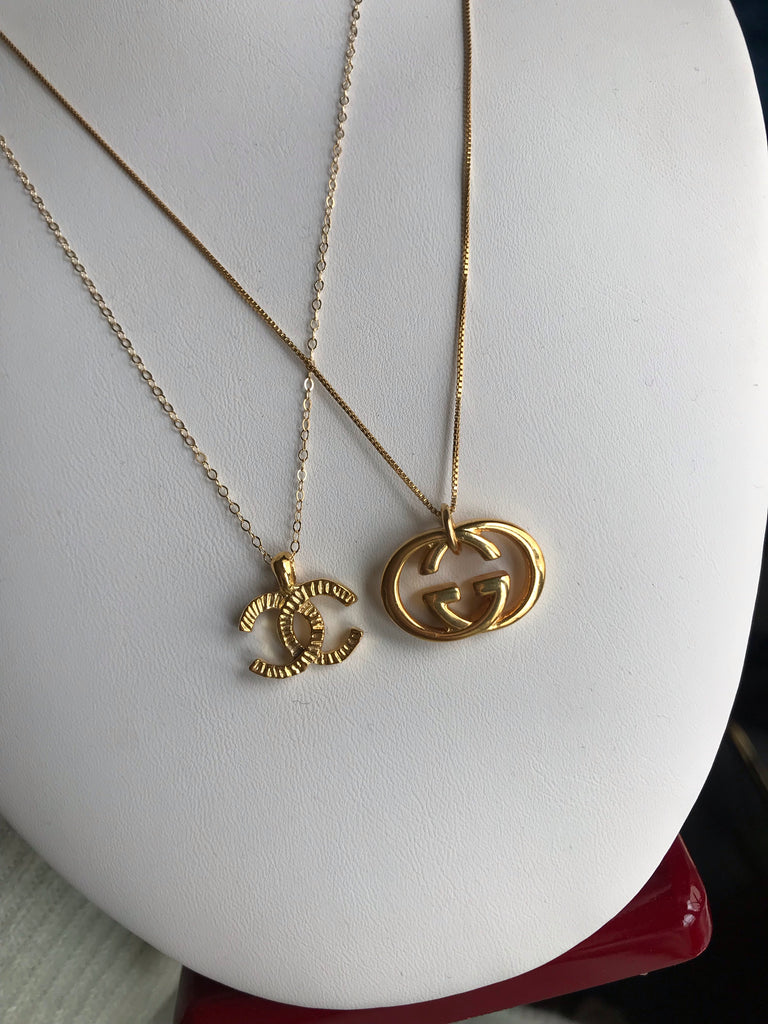 Medium Gold Repurposed Gucci Charm Necklace