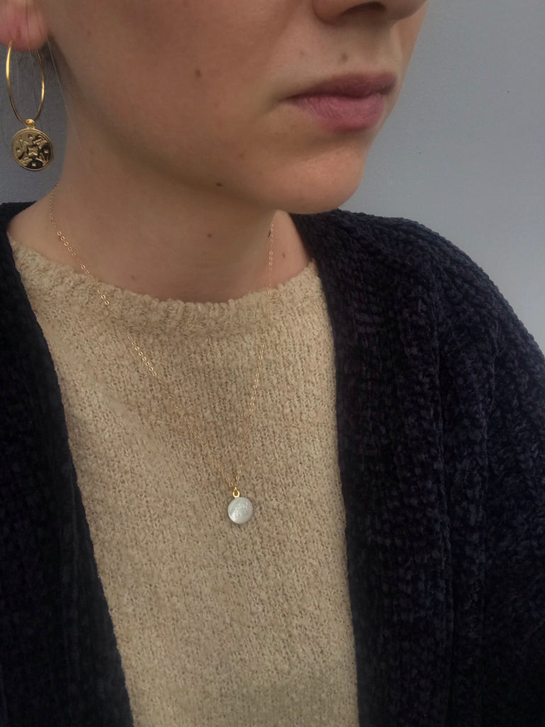 Medium Gold Filled Hoops with Small Gold Repurposed Louis Vuitton Button Charms