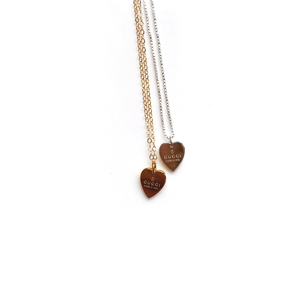 TINY Silver Repurposed Designer Heart Charm Necklace