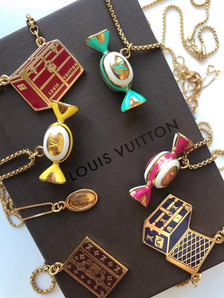 Medium Vintage Pink and Gold Repurposed Louis Vuitton Candy Charm Necklace