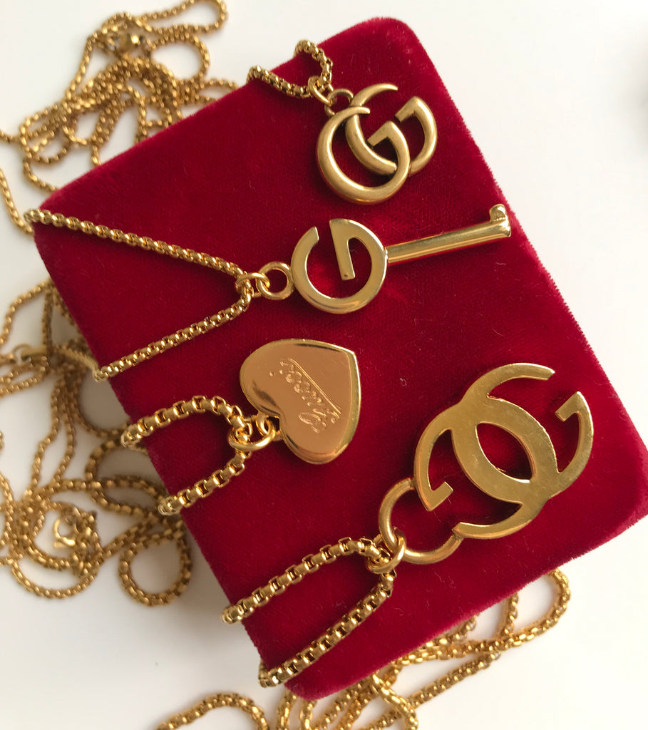 Medium Vintage Gold Repurposed Gucci Key Charm Necklace