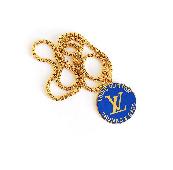 Large Vintage Blue and Gold Repurposed Louis Vuitton Charm Necklace