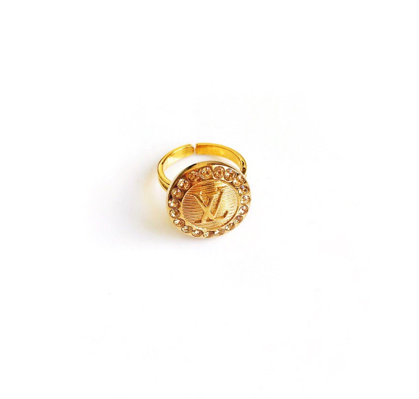 Medium Vintage Gold and Champagne Crystal Louis Vuitton Button Ring