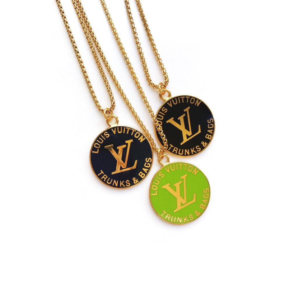 Large Lime Green and Gold Repurposed Louis Vuitton Charm Necklace