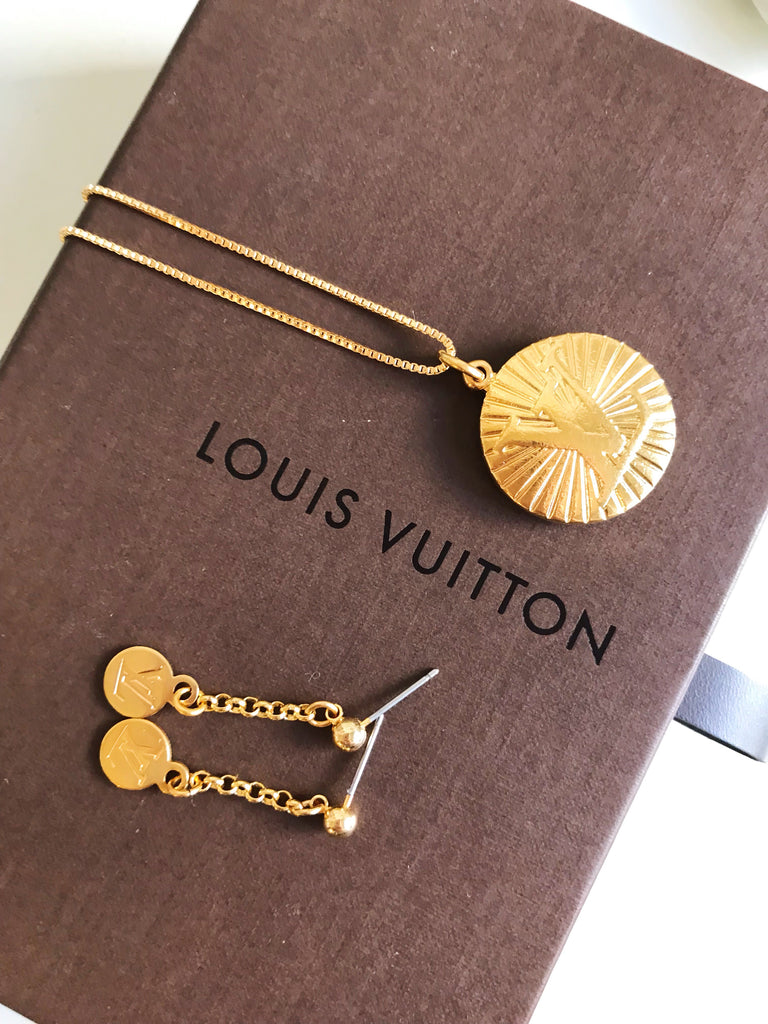 Large Gold Louis Vuitton Charm Necklace