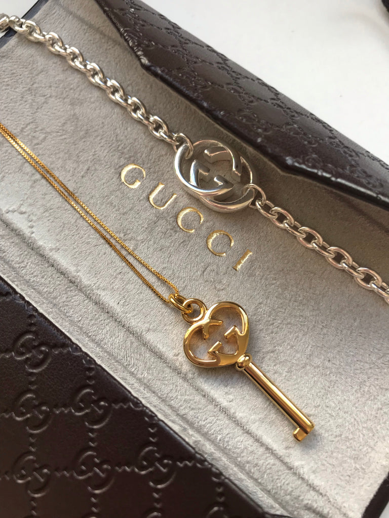 Large Vintage Gold Gucci Heart Key Repurposed Charm Necklace