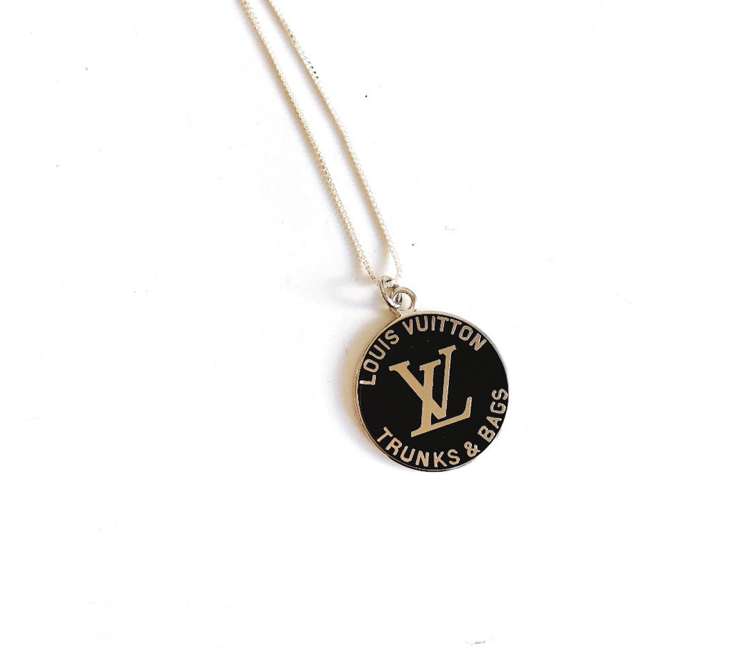 Large Black and Silver Louis Vuitton Charm Necklace