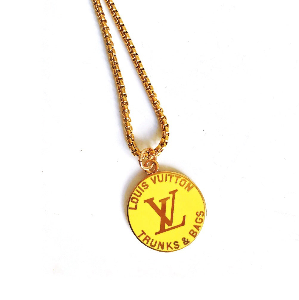 Large Yellow and Gold Designer Louis Vuitton Charm Necklace