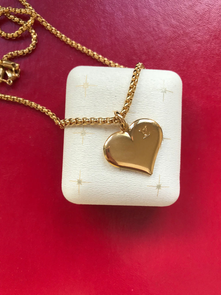 Vintage Large Gold Louis Vuitton Heart Charm Necklace