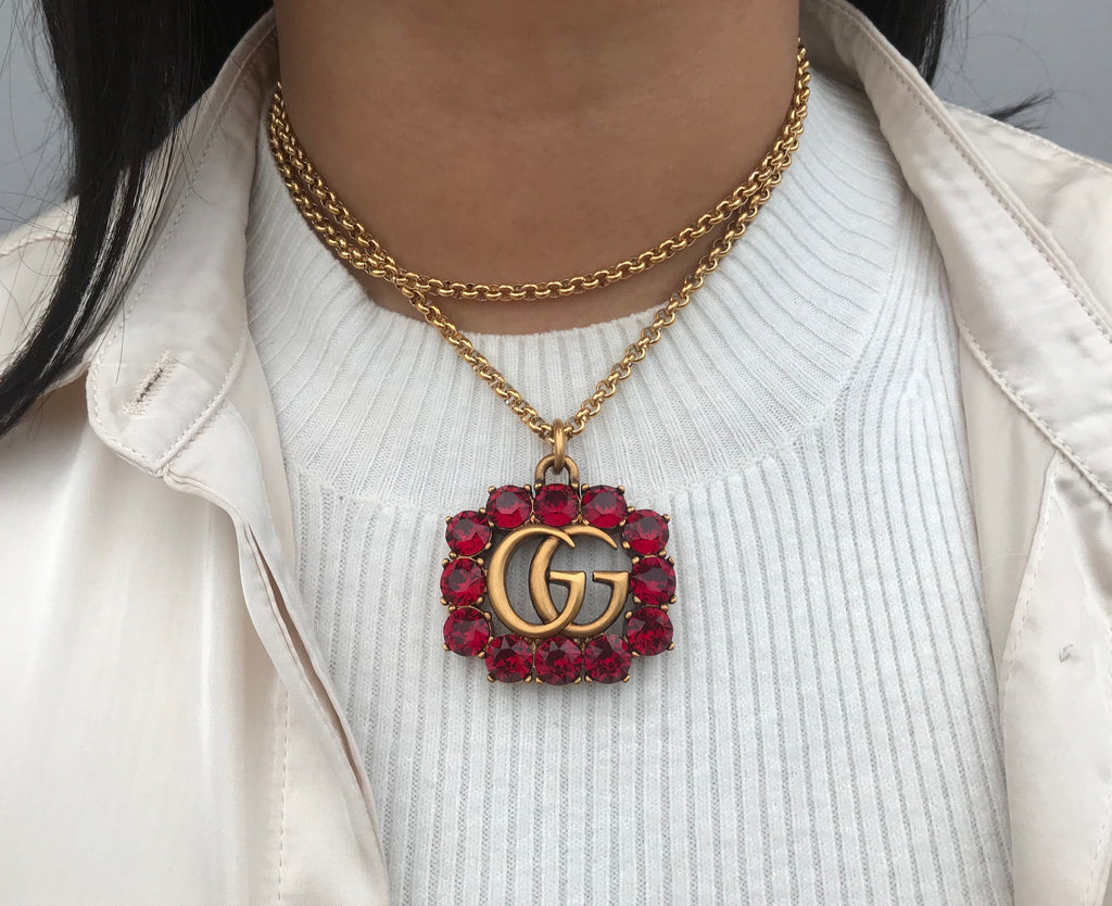VERY Rare Red Crystal and Gold Repurposed Gucci Charm Statement Necklace