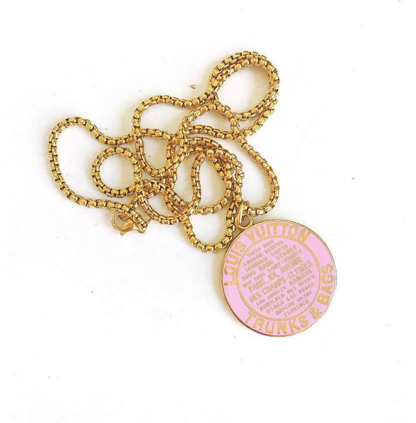 Huge Pink Louis Vuitton Repurposed Charm Necklace