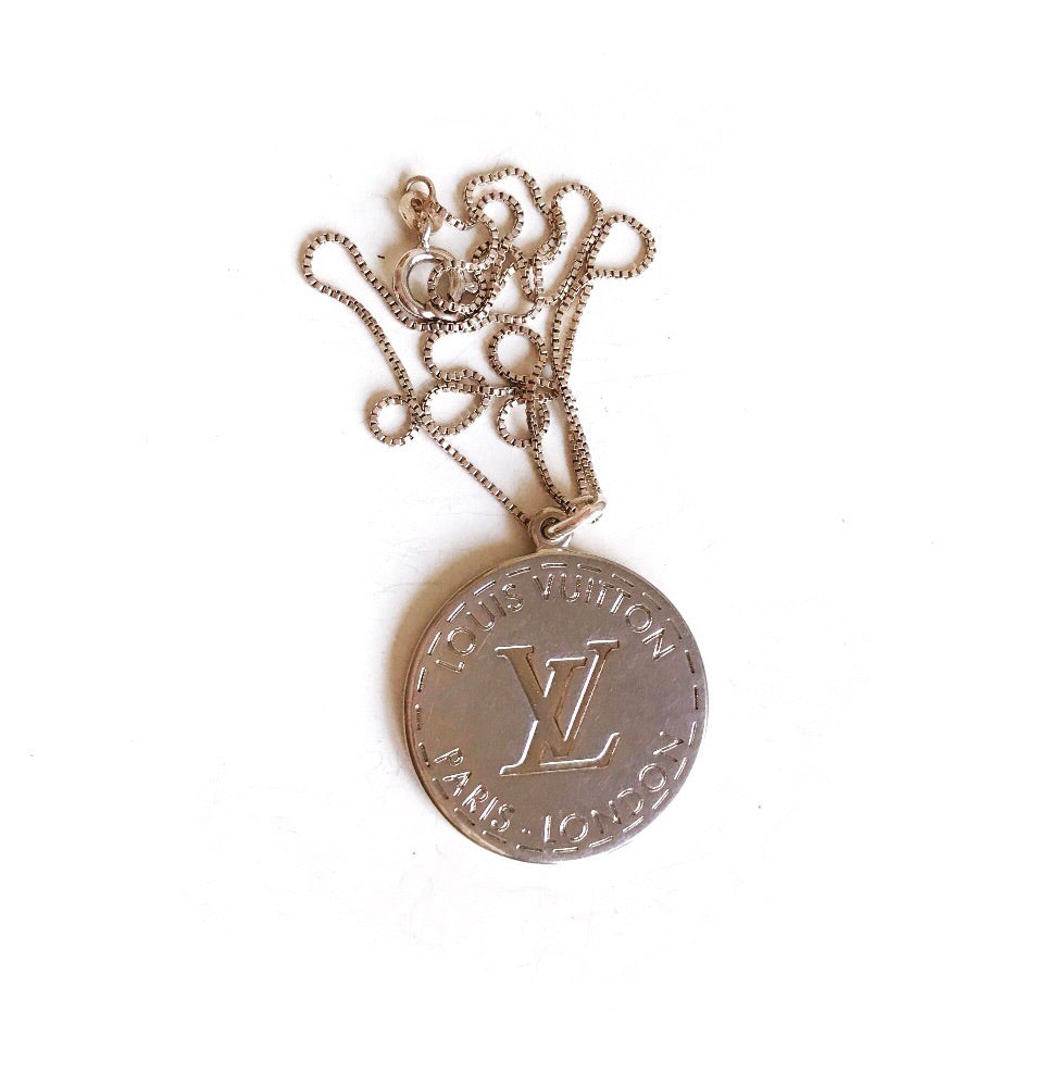 Large Silver Louis Vuitton Charm Necklace