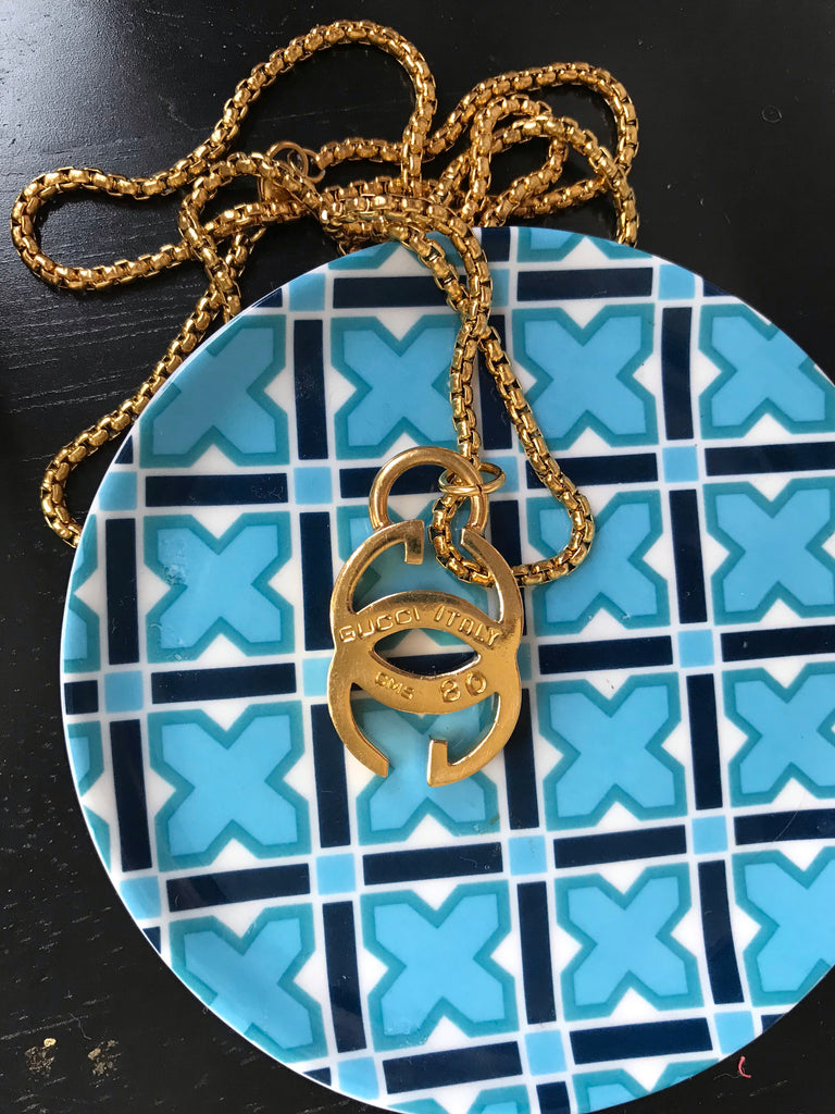 Huge Vintage Chunky Repurposed Gucci Charm Necklace