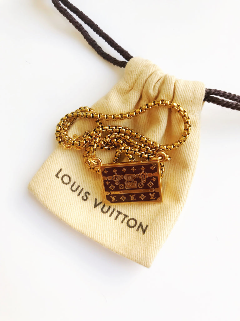 Large Vintage Brown and Gold Repurposed Vintage Louis Vuitton Trunks Charm Necklace