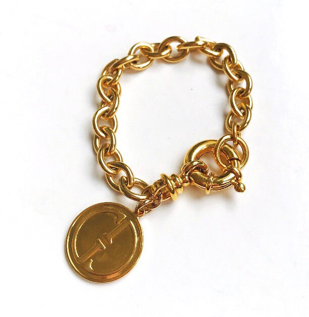 Vintage Gold Repurposed Chunky Gucci Charm Bracelet