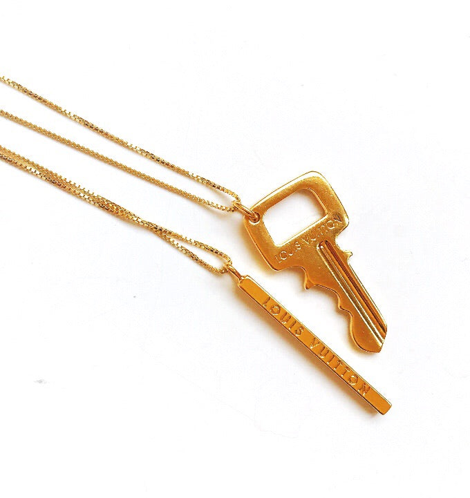 Vintage Gold Repurposed Louis Vuitton Bar Charm Necklace