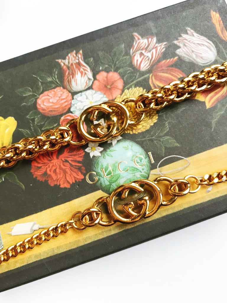 Vintage Gold Repurposed Gucci Charm Bracelet