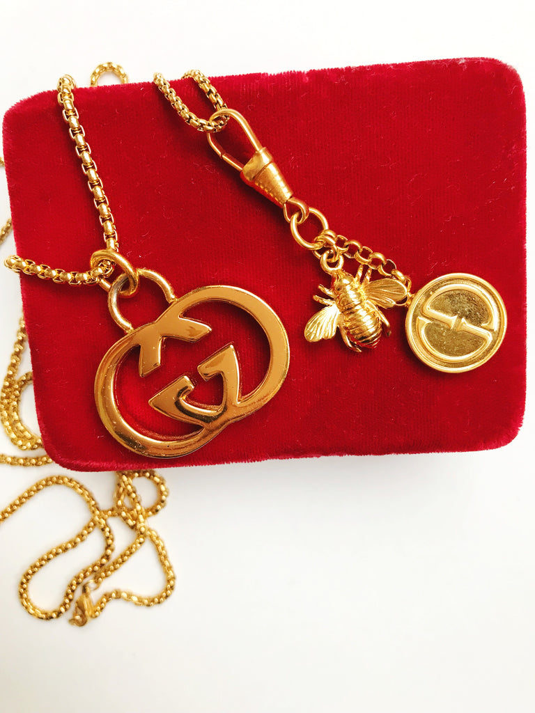 Huge Vintage Gold Repurposed Gucci Charm Necklace- ONLY ONE