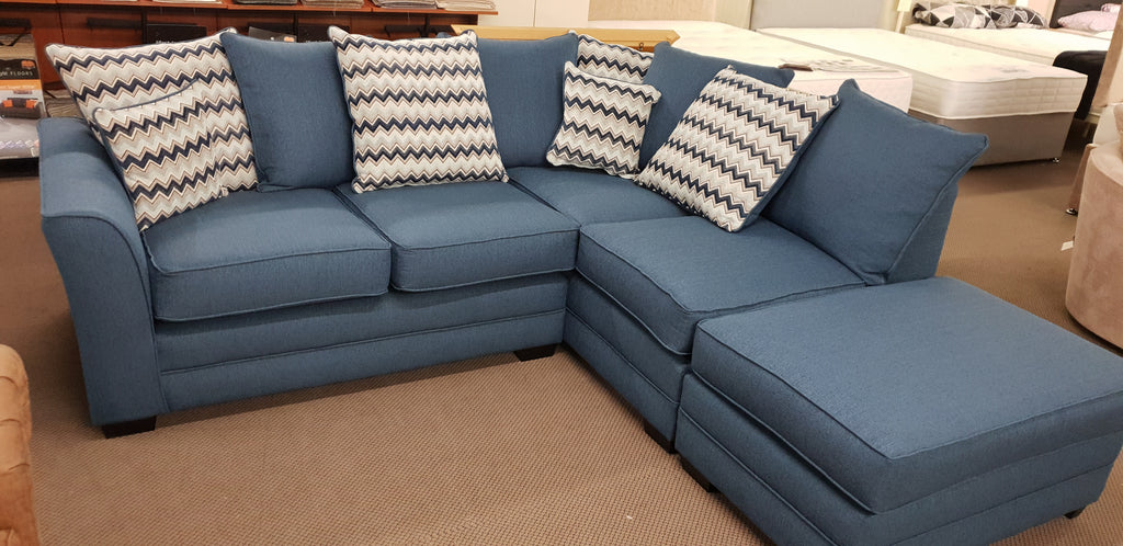 Cleo Corner Sofa Blue Scatter Back