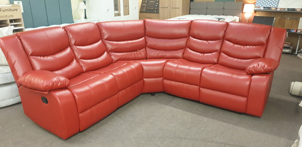 Darley Red Leather Reclining Corner Sofa