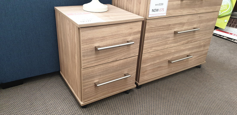 French Oak Finish Bedside Drawers