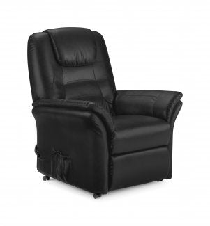 Julian Bowen Riva Rise and Recliner Chair Black Faux Leather