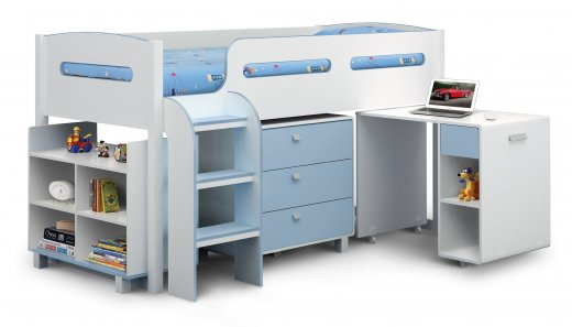 Julian Bowen Children's Kimbo Cabin Bed White & Sky Blue