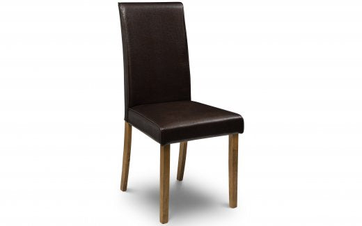Julian Bowen Hudson Dining Chair - Brown Faux Leather