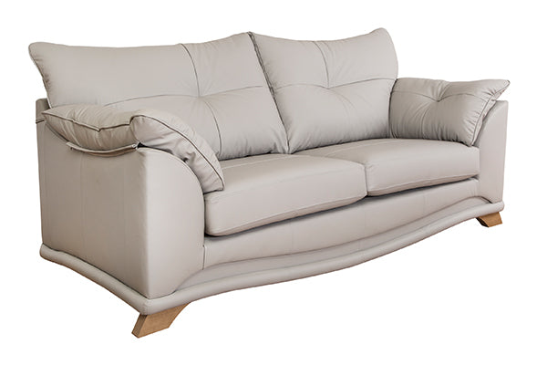 Nicole Leather 3 Seater Sofa and 2 Chairs Standard Back Windsor