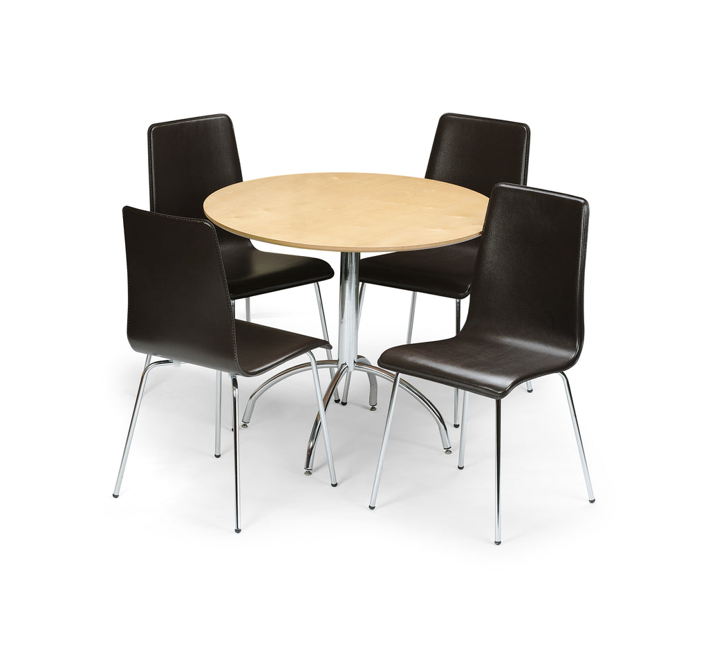 Amanda Dining Set (Table + 4 Leather Chairs)