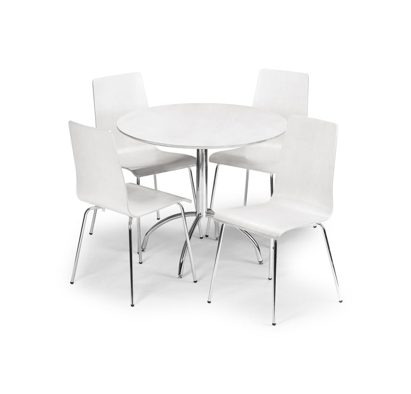 Amanda White Dining Set (Table + 4 Chairs)