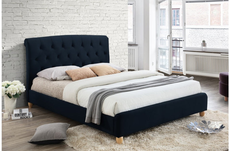 Brompton Bed Frame in Midnight Blue Fabric