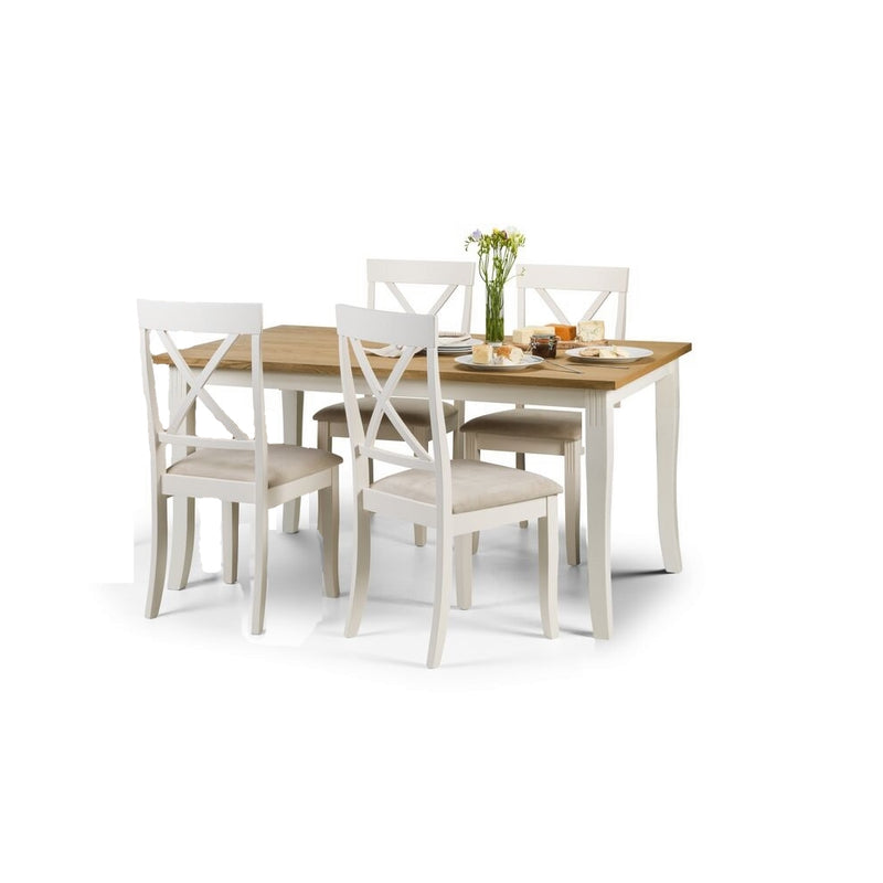 Dining Table + 4 Chairs (White & Oak)