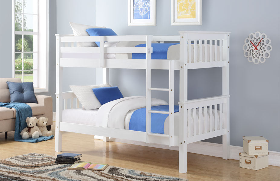 Yazz White Wooden Bunk Beds
