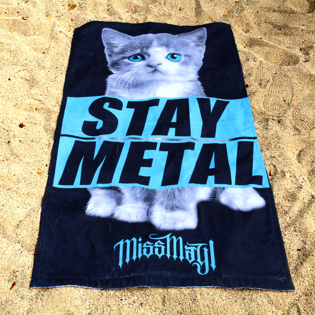 Stay Metal Kitten Beach Towel